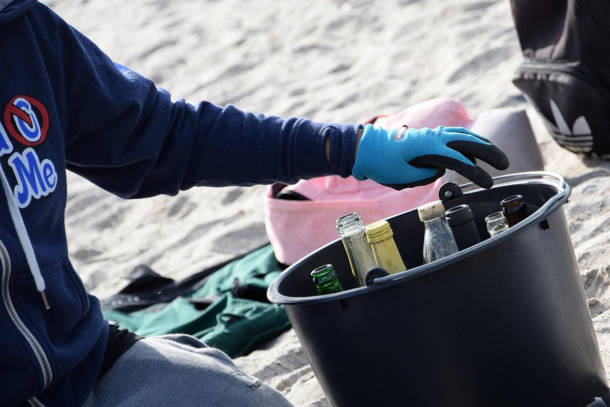 Glasflaschen zählten beim Coastal Cleanp in Kiel zur Top 5